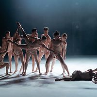 Members of Szeged Contemporary Dance Company perform their new piece Blue choreographed by Tamas Juronics during a dress rehearsal at National Dance Theatre in Budapest, Hungary on June 11, 2021. ATTILA VOLGYI