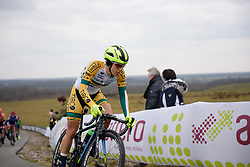 Shannon Malseed approaches the top of the VAMberg at Drentse 8 van Westerveld 2018 - a 142 km road race on March 9, 2018, in Dwingeloo, Netherlands. (Photo by Sean Robinson/Velofocus.com)