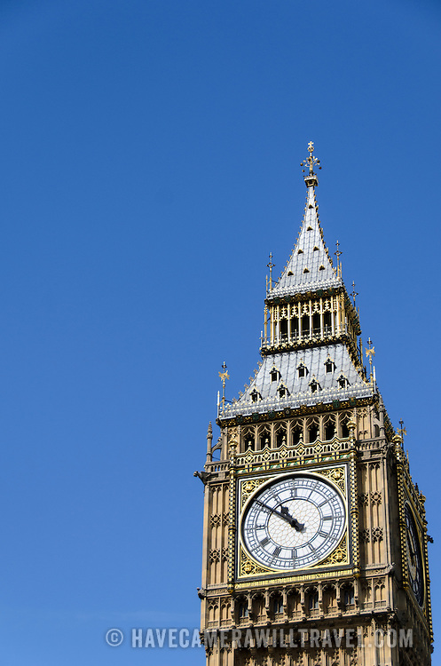 Big Ben with Clear Blue Sky and Copyspace 169-095314649 The top of Big Ben (formally known as Elizabeth Tower), with clear blue sky. Includes copyspace.