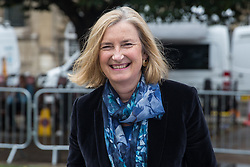 """London, UK. 25 September, 2019. Sarah Wollaston, Liberal Democrat MP for Totnes, is interviewed on College Green on the day after the Supreme Court ruled that the Prime Minister's decision to suspend parliament was """"unlawful, void and of no effect"""". Credit: Mark Kerrison/Alamy Live News"""