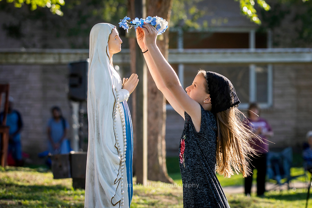 St. Bernard Catholic Church celebrates Saturday Vigil Mass outdoors on the St. Bernard School grounds in Breaux Bridge, La. Saturday, May 4, 2020. After 48 days of no public masses due to the COVID-19 quarantine, St. Bernard Catholic Church was finally able to celebrate Mass.