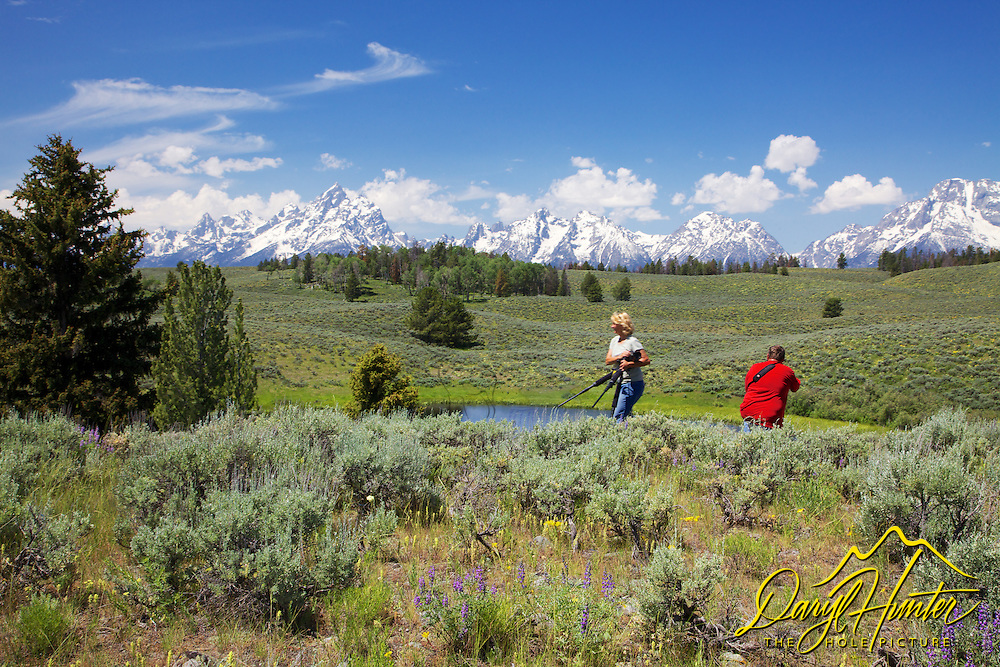 Photographers, Daryl's Pond, Grand Tetons, Grand Teton National Park