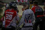 #39 (ANDRE Sylvain) FRA and #211 (EVANS Kyle) GBR at the 2016 UCI BMX Supercross World Cup in Manchester, United Kingdom<br /> <br /> A high res version of this image can be purchased for editorial, advertising and social media use on CraigDutton.com<br /> <br /> http://www.craigdutton.com/library/index.php?module=media&pId=100&category=gallery/cycling/bmx/SXWC_Manchester_2016