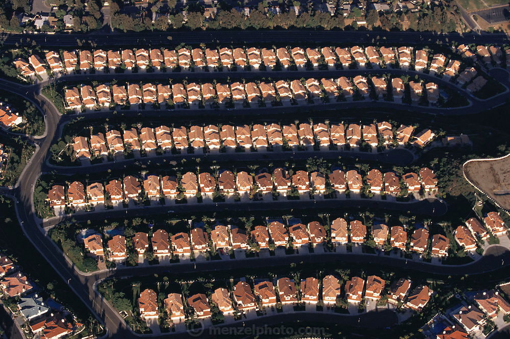 Aerial photograph of Laguna Beach subdivisions in Orange County, California.