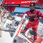 Leg 7 from Auckland to Itajai, day 03 on board MAPFRE, Blair Tuke trimming the main sail. 20 March, 2018.