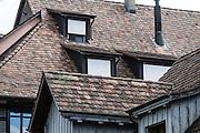 Tile roof pattern. Stein am Rhein has a well-preserved medieval center in Schaffhausen Canton, Switzerland, Europe.
