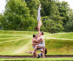 Pictured: Jon Bonaventuta (long trousers fair hair), Johnny Brown (shorts), Sarah McDougall (skirt), Shannan Vitali (shorts) and David Trappes (long trousers dark hair) Make up The Casus Circus<br /> Driftwood. The Casus Circus will be performing at the Edinburgh Festival fringe 2017.  Their latest performance compares humans to pieces of driftwood that floats along water<br /> Ger Harley   EEm 2 August  2017