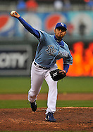 April 12, 2009:  Pitcher Joakim Soria #48 of the Kansas City Royals delivers a pitch during a game against the New York Yankees at Kauffman Stadium in Kansas City, Missouri.