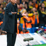 Jose Mourinho during the UEFA Champions League match between Chelsea and Maccabi Tel-Aviv at Stamford Bridge, London. September 16, 2015.<br /> Picture by Jack Megaw/Focus Images Ltd +44 7481 764811<br /> 16/09/2015