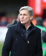 Charlton Athletic Head Coach Jose Riga looking puzzled during the Sky Bet Championship match between Brentford and Charlton Athletic at Griffin Park, London, England on 5 March 2016. Photo by Matthew Redman.