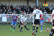 Dover Athletic Richard Orlu clears during the The FA Cup Third Round match between Dover Athletic and Crystal Palace at Crabble Athletic Ground, Dover, United Kingdom on 4 January 2015. Photo by Phil Duncan.