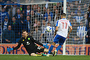 Brighton & Hove Albion winger Anthony Knockaert scores to make it 5-0 during the EFL Sky Bet Championship match between Brighton and Hove Albion and Norwich City at the American Express Community Stadium, Brighton and Hove, England on 29 October 2016. Photo by Bennett Dean.