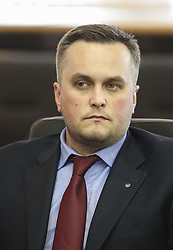 May 22, 2018 - Kiev, Ukraine - Specialized Anti-Corruption Prosecutor's Office Head and The First Vice President of Football Federation of Ukraine Nazar Kholodnytsky is seen during the press conference in Kyiv, Ukraine, May 22, 2018. Ukrainian police in cooperation with Specialized Anti-Corruption Prosecutor's Office (SAPO) investigate the case on match-fixing by referees, FC's presidents and top management of National Football Federation. (Credit Image: © Sergii Kharchenko/NurPhoto via ZUMA Press)