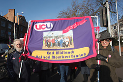 UCU members with banners at demonstration against pension cuts, Nottingham 30th November 2011