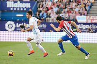 "Atletico de Madrid's player Juanfran Torres and Malaga CF Juan Carlos ""Juankar"" Perez during a match of La Liga Santander at Vicente Calderon Stadium in Madrid. October 29, Spain. 2016. (ALTERPHOTOS/BorjaB.Hojas)"