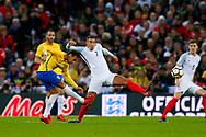 Brazil Paris Saint Germain PSG midfielder Neymar (10) shoots during the International Friendly match between England and Brazil at Wembley Stadium, London, England on 14 November 2017. Photo by Simon Davies.