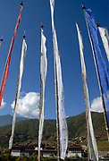 Numerous tall prayer flags.  The Thimphu Dzong Trashichodzong, the seat of government and the headquarters of the clergy in the capital Thimphu, can be seen in the background. Thimpu, Druk Yul, Bhutan. 13 November 2007.