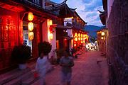 Chinese architecture and traditional lanterns at night in Lijiang, Yunnan, China.