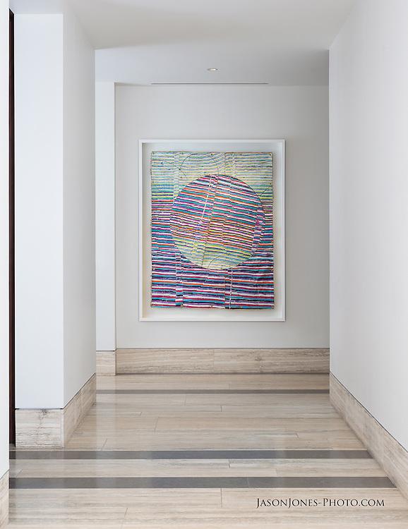 Interior of luxury multifamily high rise condominiums in Dallas, focusing on an art piece installation for Interior Design