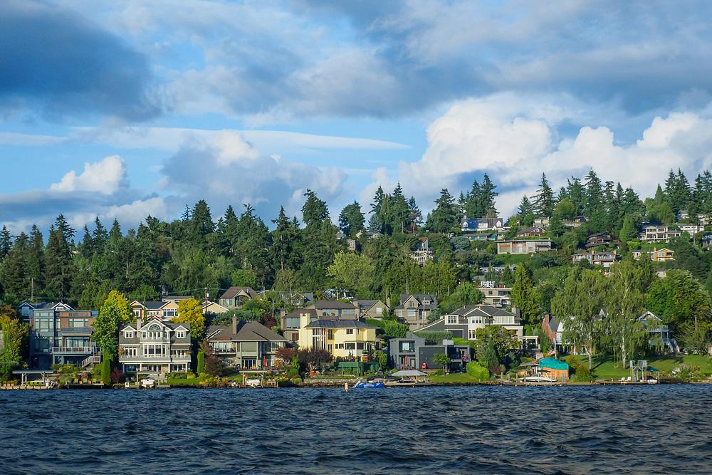 United States, Washington, Bellevue. Houses on hillside overlooking Lake Washington.