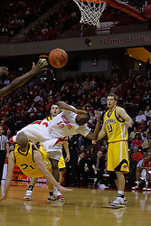 05 December 2009: Austin Hill falls over Chris Kellermann and loses the ball. The Chippewas of Central Michigan are defeated by the Redbirds of Illinois State 75-62 on Doug Collins Court inside Redbird Arena in Normal Illinois.