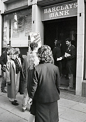 Student occupation of Barclays Bank in Anti-Apartheid protest, Nottingham UK October 1985