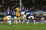 Phil Jagielka of Everton © heads the ball clear. Premier league match, Everton v Crystal Palace at Goodison Park in Liverpool, Merseyside on Friday 30th September 2016.<br /> pic by Chris Stading, Andrew Orchard sports photography.