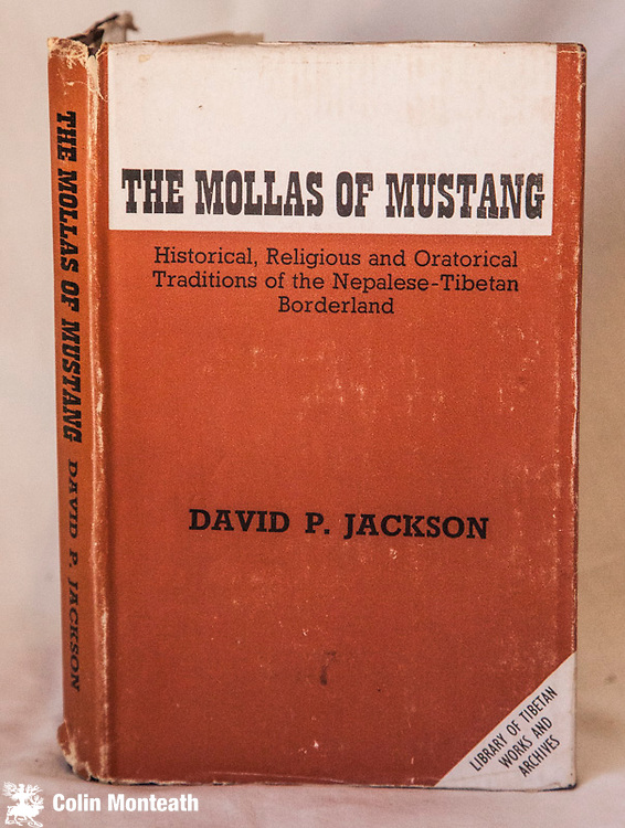 """THE MOLLAS OF MUSTANG, Historical, religious and oratorial traditions of the Nepalese-Tibetan borderlands,  Library of Tibetan Works & Archives, Dharamasala, 1984. Original Brown Cloth  248 page hardback.  Good Jacket  First edition. 1984. Publisher's blurb... """"Lo Mustang . is now one of the most remote, backwards, and inaccesible valleys in the Nepal Himalayas. . Still, traces of the area's past greatness have survived in the temple and palaces that remain there. And as one of the few areas in the Himalayas still relatively untouched by outside infleuces, the ancient principality exerts a strong fascination over both speciialised scholars and ordinary travellers."""" $NZ60 (Arnold Heine Collection)"""