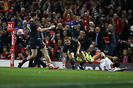 Hallam Amos of Wales © celebrates with Alex Cuthbert of Wales (14) after he scores his teams 1st try. Under Armour 2017 series Autumn international rugby, Wales v Georgia at the Principality Stadium in Cardiff , South Wales on Saturday 18th November 2017. pic by Andrew Orchard, Andrew Orchard sports photography