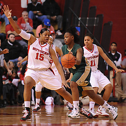 Jan 31, 2009; Piscataway, NJ, USA; Rutgers center Kia Vaughn (15) defends against South Florida guard Shantia Grace (3) during the first half of South Florida's 59-56 victory over Rutgers in NCAA women's college basketball at the Louis Brown Athletic Center