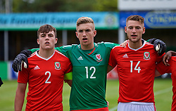 RHYL, WALES - Monday, September 4, 2017: Wales players line-up before before an Under-19 international friendly match between Wales and Iceland at Belle Vue. captain Mitchell Clark, goalkeeper George Ratcliffe, Brandon Cooper. (Pic by Paul Greenwood/Propaganda)