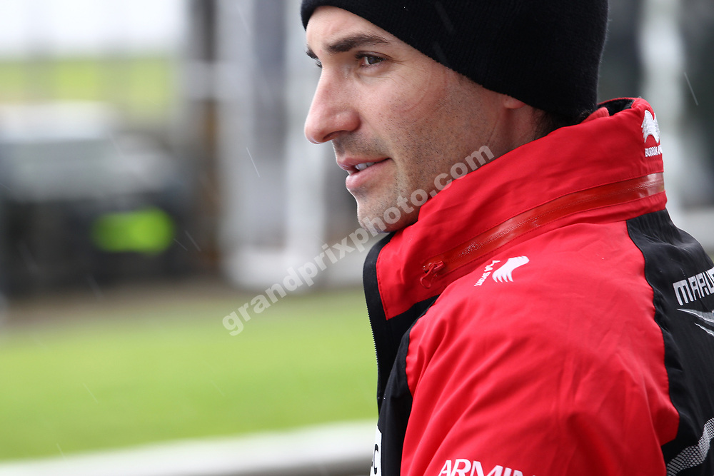 Tim Glock (Marussia-Cosworth) during wet Friday practice for the 2012 British Grand Prix in Silverstone. Photo: Grand Prix Photo