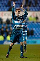 Photo: Daniel Hambury.<br />Reading v Brighton & Hove Albion. Coca Cola Championship. 10/12/2005.<br />Reading's David Kitson celebrates his hat trick by putting the ball under his shirt.
