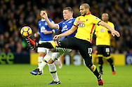 Adlene Guedioura of Watford and James McCarthy of Everton compete for the ball. Premier league match, Watford v Everton at Vicarage Road in Watford, London on Saturday 10th December 2016.<br /> pic by John Patrick Fletcher, Andrew Orchard sports photography.