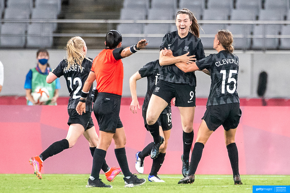 TOKYO, JAPAN - JULY 21:   Gabi Rennie #9 of New Zealand celebrates with team mates after scoring a late goal during the Australia V New Zealand group G football match at Tokyo Stadium during the Tokyo 2020 Olympic Games on July 21, 2021 in Tokyo, Japan. (Photo by Tim Clayton/Corbis via Getty Images)