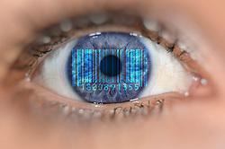 Themenbild - Detailaufnahme Auge mit Barcode ueber Iris aufgenommen am 03. Juli 2015, Deutschland // Detail of eye with a barcode on Iris, Germany on  2015/07/03. EXPA Pictures © 2015, PhotoCredit: EXPA/ Eibner-Pressefoto/ Weber<br /> <br /> *****ATTENTION - OUT of GER*****