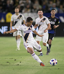 May 25, 2018 - Carson, California, U.S - Giovani dos Santos #10 of the LA Galaxy takes a shot during their MLS game against the San Jose Earthquakes on Friday May 25, 2018 at the StubHub Center in Carson, California. LA Galaxy defeats the Earthquakes, 1-0. (Credit Image: © Prensa Internacional via ZUMA Wire)