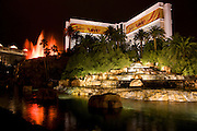The volcano at the Mirage Hotel and Casino along the Strip at night, Las Vegas, Nevada.