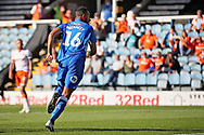 CAPTION CORRECTION Peterborough United defender Rhys Bennett (16) celebrates opening goal for Posh during the EFL Sky Bet League 1 match between Peterborough United and Blackpool at The Abax Stadium, Peterborough, England on 29 September 2018.