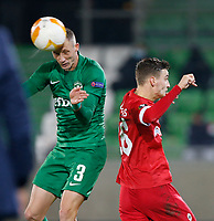 RAZGRAD, BULGARIA - OCTOBER 22: Anton Nedyalkov of Ludogorets wins the clearing header against Pieter Gerkens of Antwerp during the UEFA Europa League Group J stage match between PFC Ludogorets Razgrad and Royal Antwerp at Ludogorets Arena on October 22, 2020 in Razgrad, Bulgaria. (Photo by Nikola Krstic/MB Media)