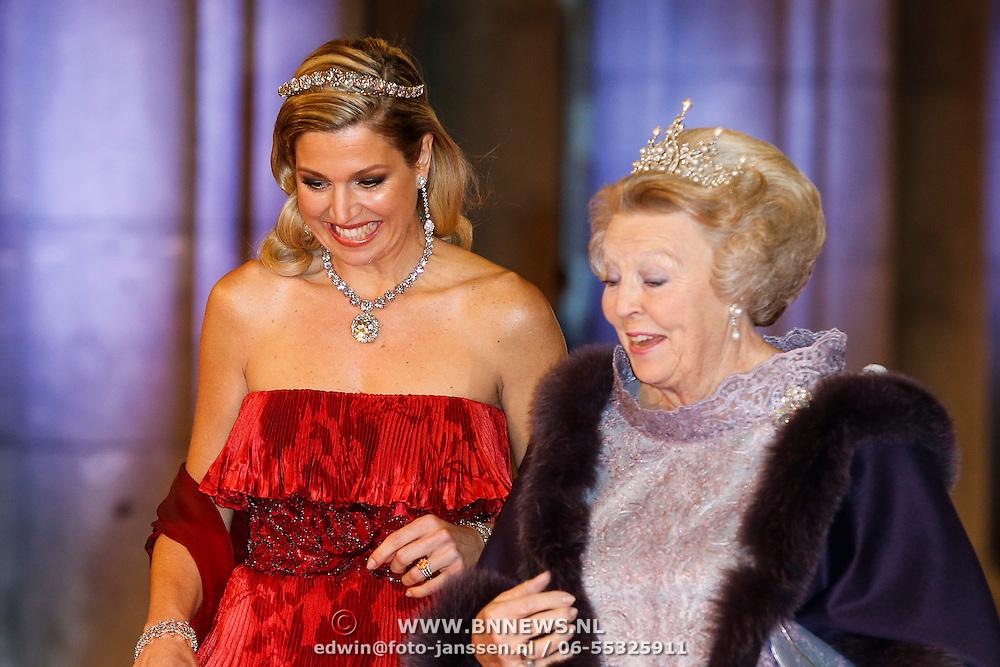 NLD/Amsterdam/20130429- Afscheidsdiner Konining Beatrix Rijksmuseum, Queen Beatrix and Prince Willem-Alexander and Princess Maxima