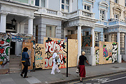 Homes and businesses are fenced off and boarded up in preparation for the upcoming Notting Hill Carnival on August 22nd 2019 in London, England, United Kingdom. An expected 1 million revellers are expected to visit Carnival on the weekend, so many owners have decided to protect their properties as a precaution.