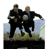 Kerry's 'Kicking Kings', Eoin Brosnan and Colm 'The Gooch' Cooper  have more than football on their minds as they prepare for the annual Killarney Races three day May Festival which begins on Sunday 8th featuring the Murphy's Irish Stout Handicap Hurdle and continuing until Tuesday10<br /> Picture: Don MacMonagle