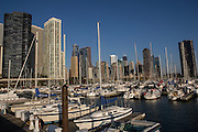 Skyline of downtown from Lake Shore Marina DuSable Harbor in Chicago USA