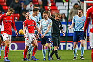 Charlton Athletic midfielder Josh Cullen (24) gets a yellow card during the EFL Sky Bet League 1 match between Charlton Athletic and Accrington Stanley at The Valley, London, England on 19 January 2019.