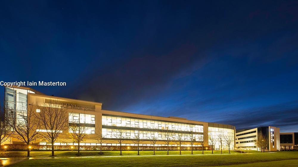 Night view of JP Morgan office building in business district in Edinburgh Park development in Edinburgh, Scotland, United Kingdom