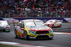 October 7, 2018 - Bathurst, NSW, U.S. - BATHURST, NSW - OCTOBER 07: Chaz Mostert / James Moffat in the Supercheap Auto Racing Ford Falcon around the first corner at the Supercheap Auto Bathurst 1000 V8 Supercar Race at Mount Panorama Circuit in Bathurst, Australia on October 07, 2018 (Photo by Speed Media/Icon Sportswire) (Credit Image: © Speed Media/Icon SMI via ZUMA Press)