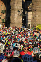 Start of the XXIV Cycle March Pedro Delgado in front of Aqueduct of Segovia. August 13,2017. (ALTERPHOTOS/Esther Duque)