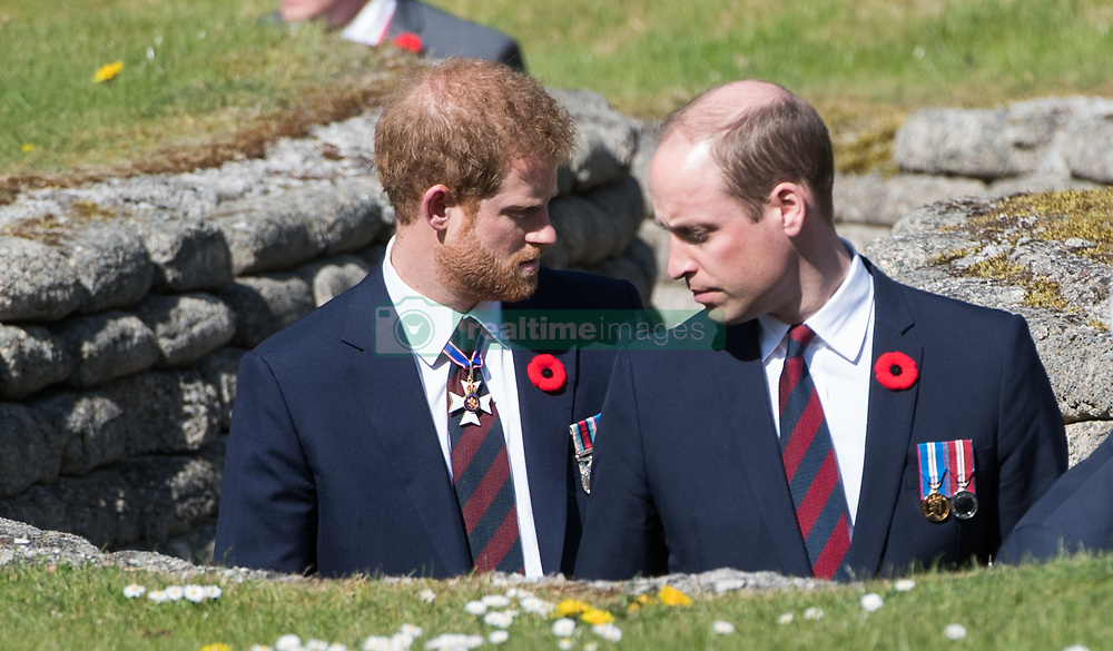 Prince William, Duke of Cambridge and Prince Harry visit the trenches during the commemorations for the Battle of Vimy Ridge on April 9, 2017.<br /> The Battle Of Vimy Ridge was fought during WW1 as part of the initial phase of the Battle of Arras.  Although British-led, it was mostly fought by the Canadian Corps.   A centenary commemorative service was held at the Canadian National Vimy Memorial in France and attended by the Prince of Wales, The Duke of Cambridge and Prince Harry and representatives of the Canadian Government.