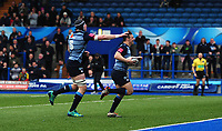 CELE - Cardiff Blues' Jarrod Evans celebrates scoring his sides first try<br /> <br /> Photographer Ashley Crowden/CameraSport<br /> <br /> Guinness Pro14 Round 18 - Cardiff Blues v Ulster Rugby - Saturday 24th March 2018 - Cardiff Arms Park - Cardiff<br /> <br /> World Copyright © 2018 CameraSport. All rights reserved. 43 Linden Ave. Countesthorpe. Leicester. England. LE8 5PG - Tel: +44 (0) 116 277 4147 - admin@camerasport.com - www.camerasport.com